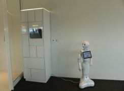 Robot Pepper and Bringme Box welcome visitors, customers, and suppliers to Decos